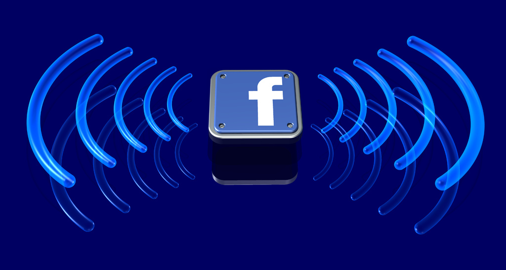 3d illustration of a series of transparent blue signal waves radiating away from a metallic Facebook logo over a reflective blue surface